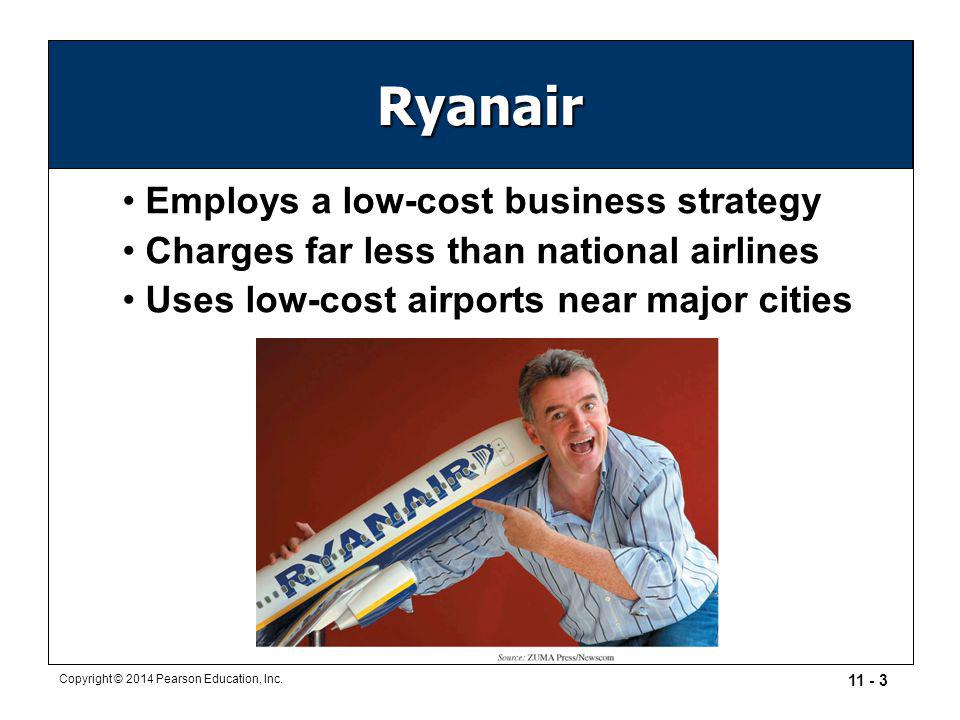 Ryanair Employs a low-cost business strategy