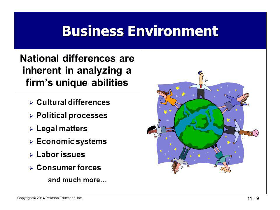Business Environment National differences are inherent in analyzing a firm's unique abilities. Cultural differences.