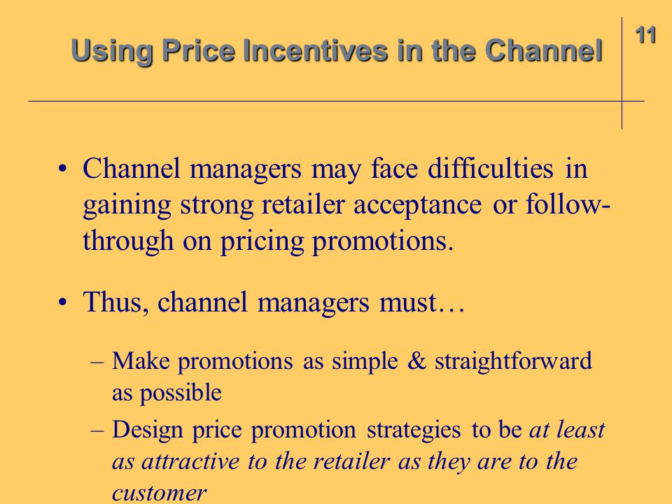 Using Price Incentives in the Channel