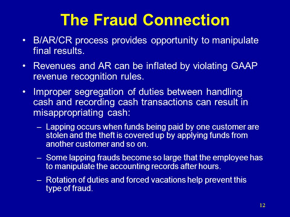 The Fraud Connection B/AR/CR process provides opportunity to manipulate final results.
