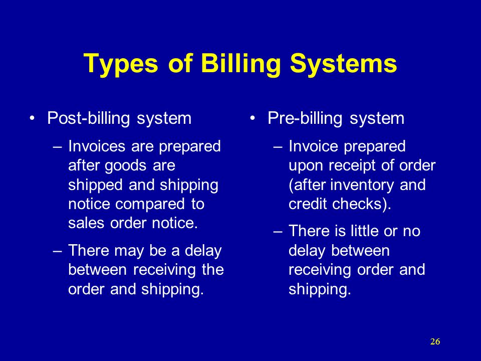 Types of Billing Systems