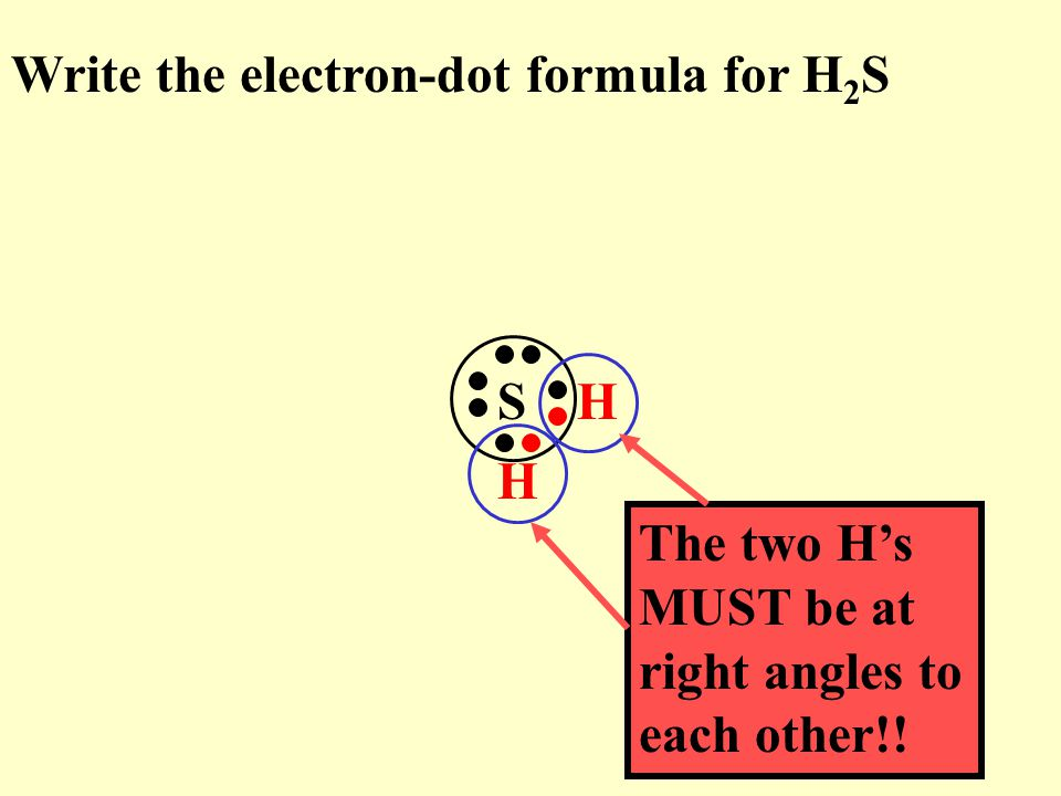 Write the electron-dot formula for H2S