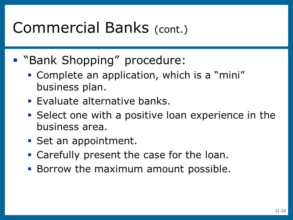 Commercial Banks (cont.)