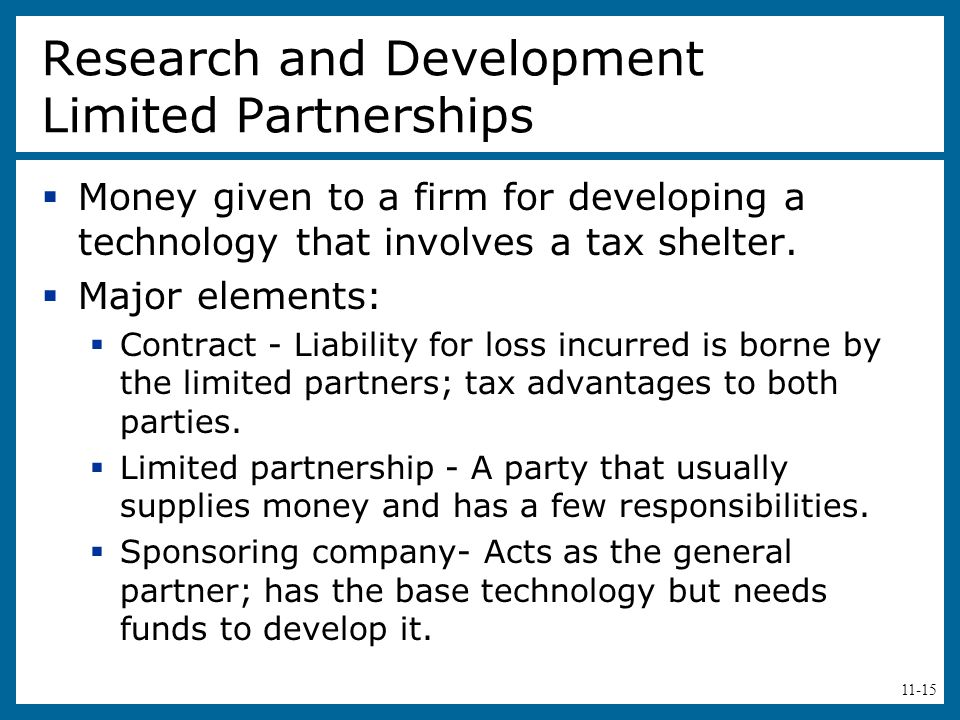 Research and Development Limited Partnerships