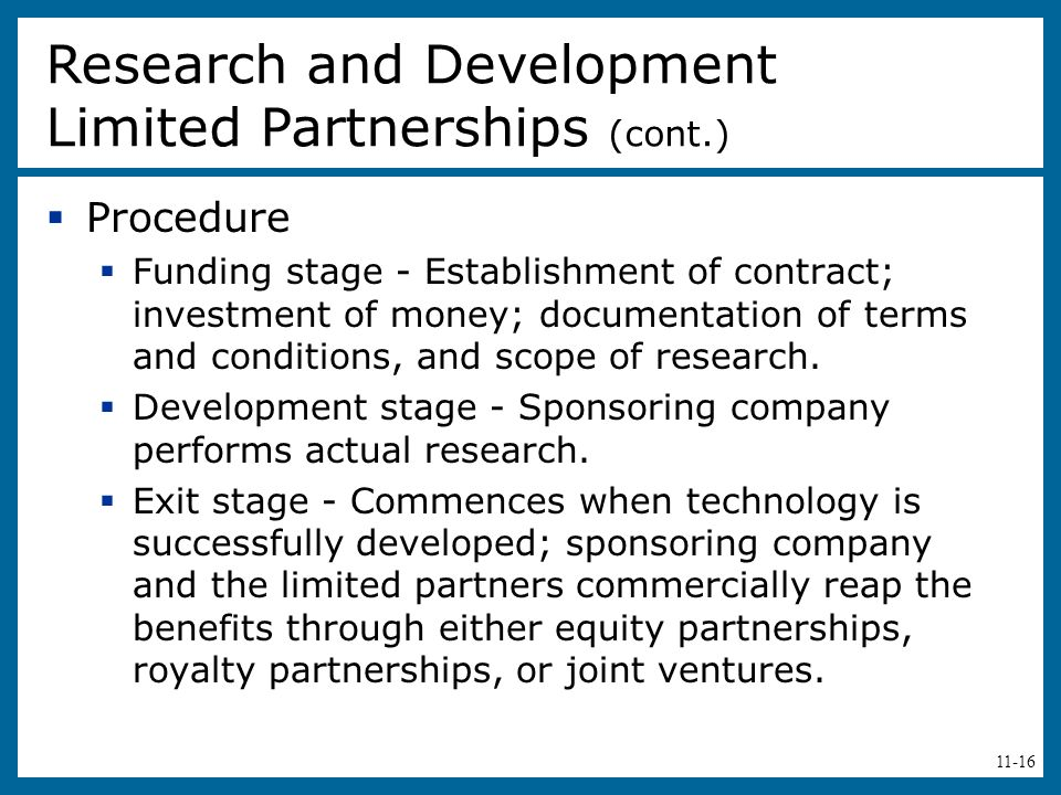 Research and Development Limited Partnerships (cont.)