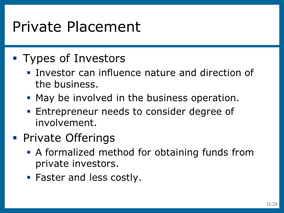 Private Placement Types of Investors Private Offerings
