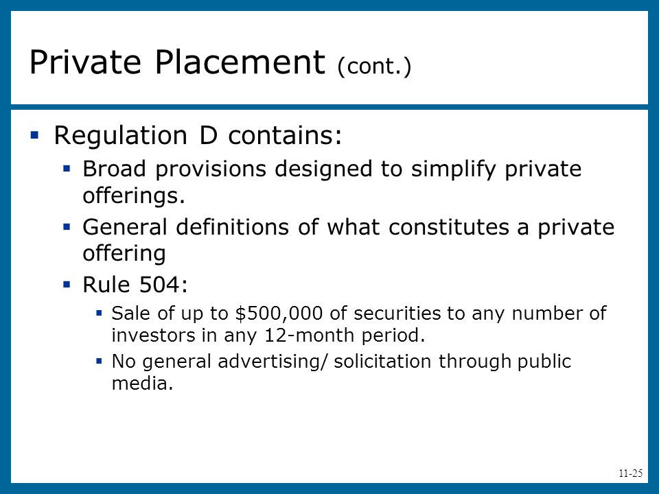 Private Placement (cont.)