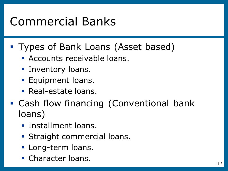 Commercial Banks Types of Bank Loans (Asset based)