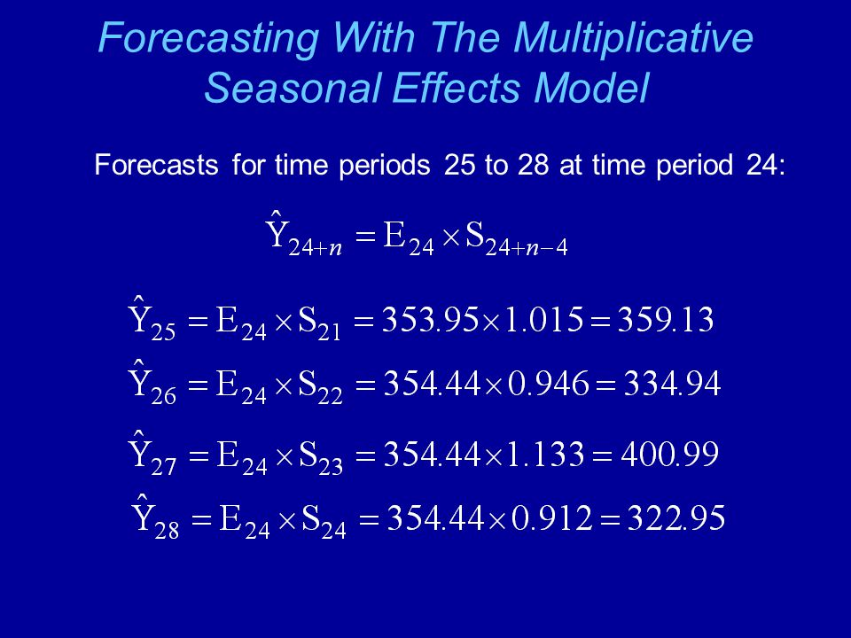Forecasting With The Multiplicative Seasonal Effects Model