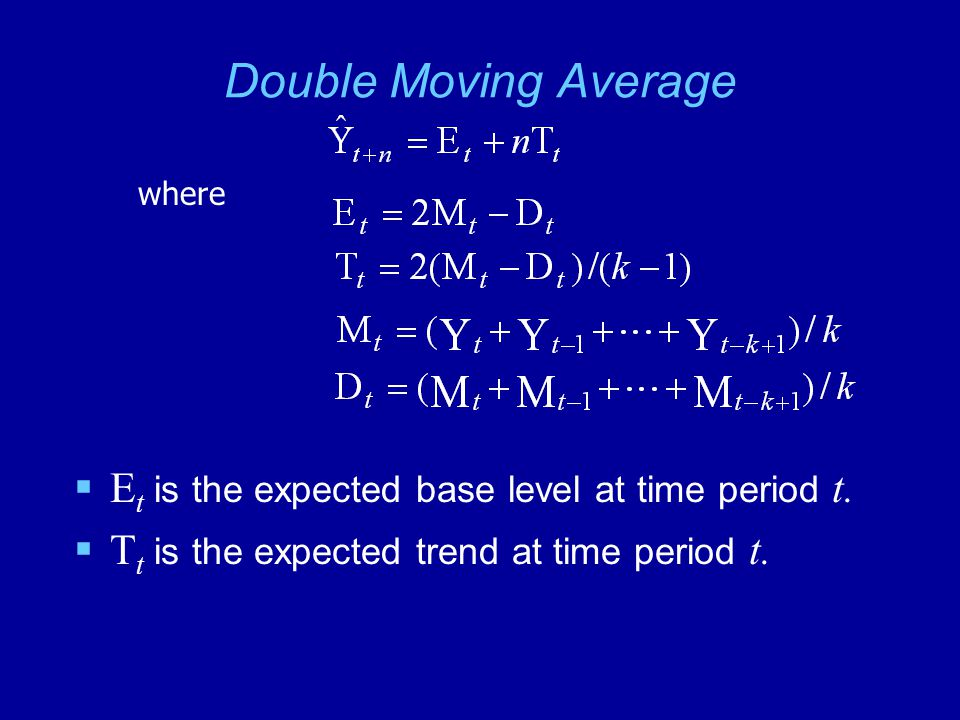 Double Moving Average Et is the expected base level at time period t.