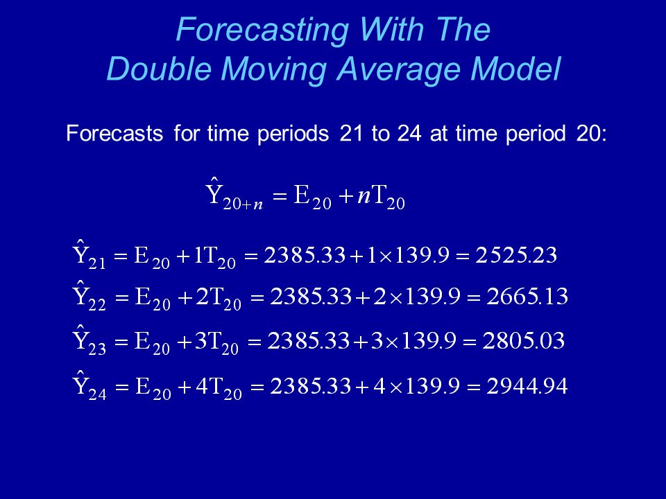 Forecasting With The Double Moving Average Model