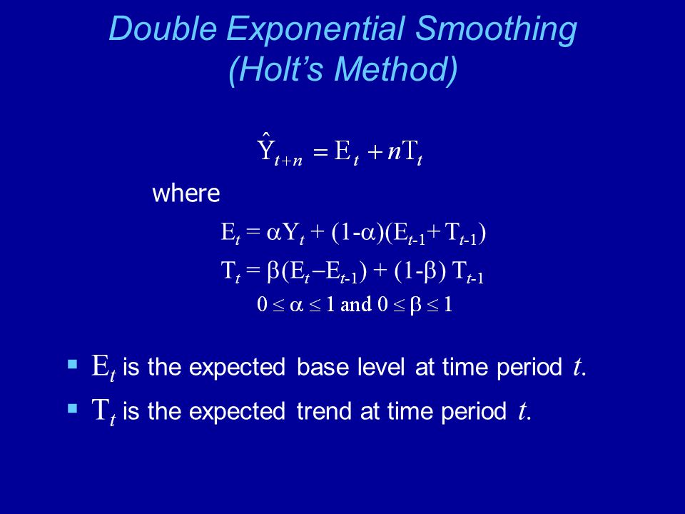 Double Exponential Smoothing (Holt's Method)