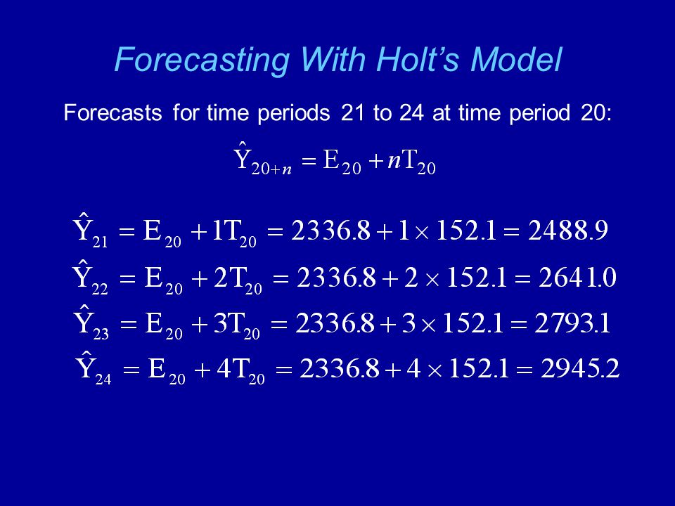 Forecasting With Holt's Model