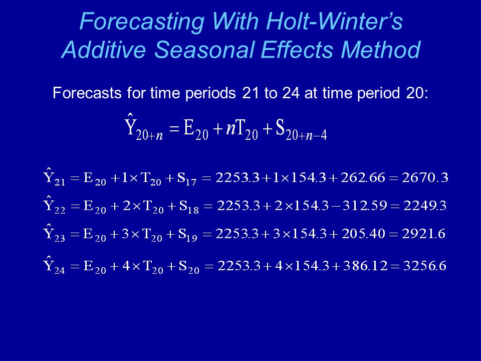 Forecasting With Holt-Winter's Additive Seasonal Effects Method