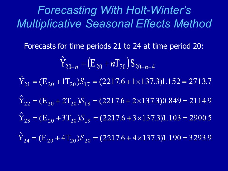 Forecasting With Holt-Winter's Multiplicative Seasonal Effects Method