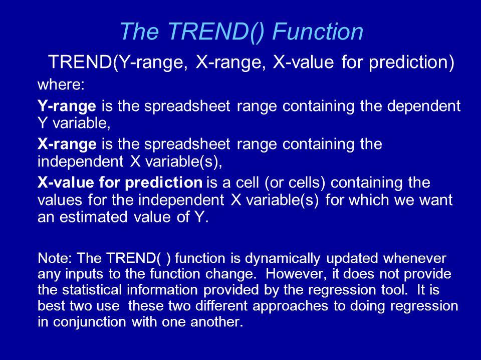 TREND(Y-range, X-range, X-value for prediction)