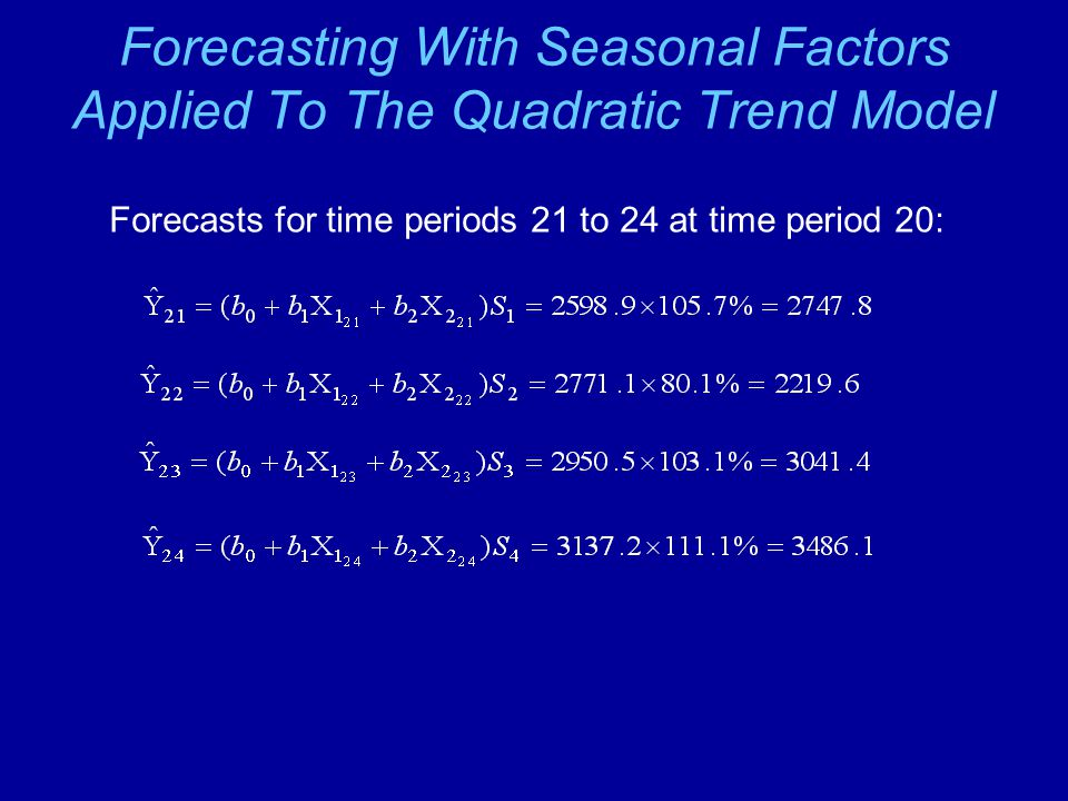 Forecasting With Seasonal Factors Applied To The Quadratic Trend Model