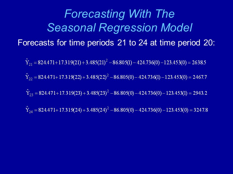 Forecasting With The Seasonal Regression Model