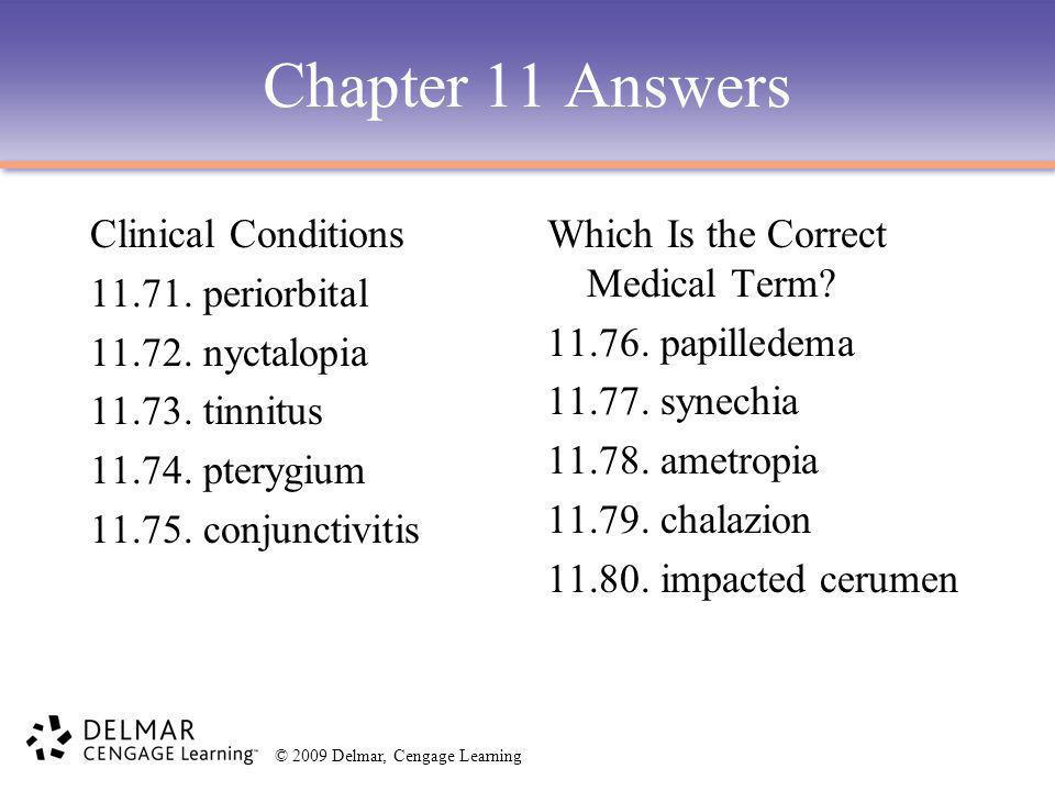 Chapter 11 Answers Clinical Conditions 11.71. periorbital