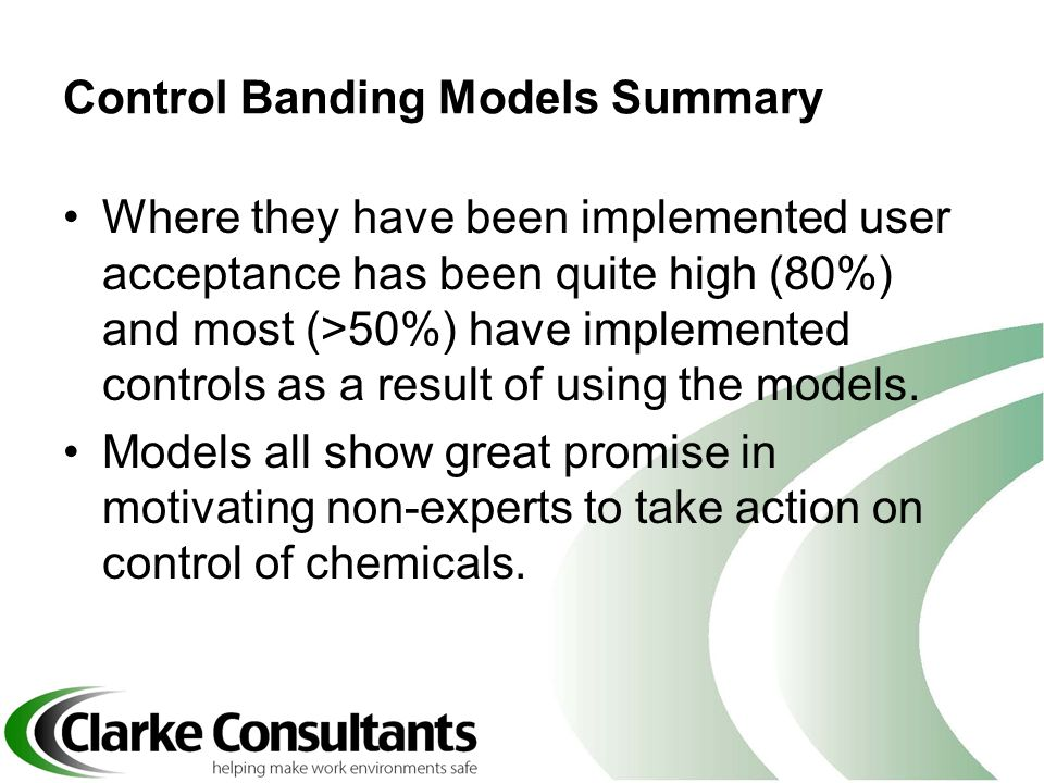Control Banding Models Summary