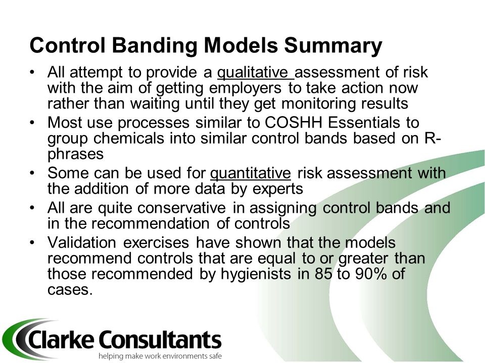 Control Banding Models Summary