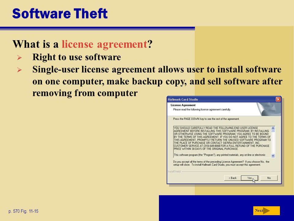 Software Theft What is a license agreement Right to use software