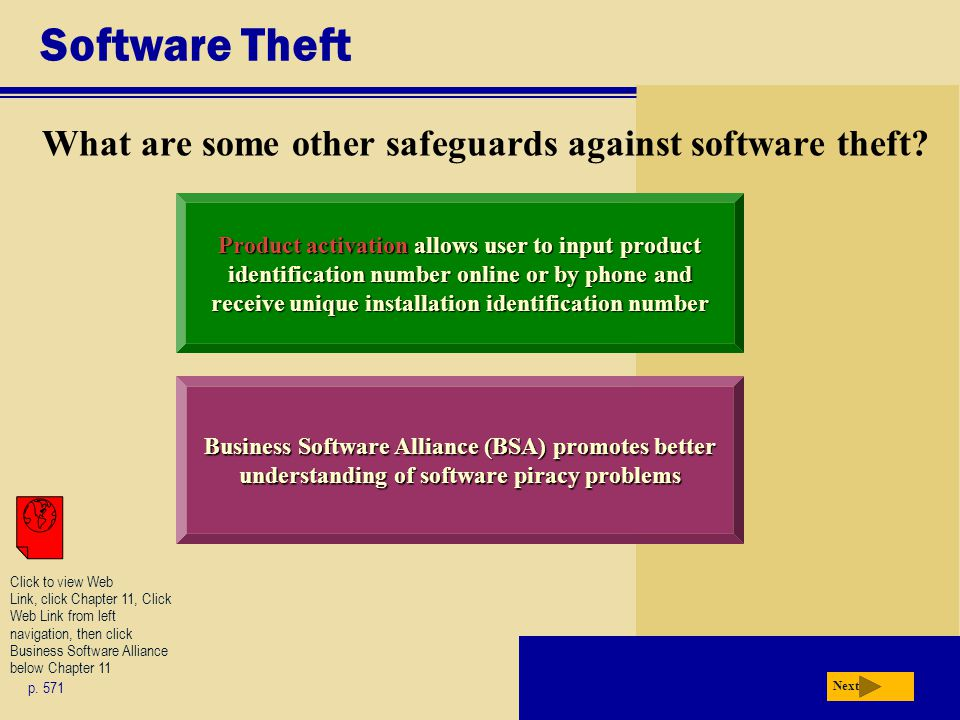 Software Theft What are some other safeguards against software theft