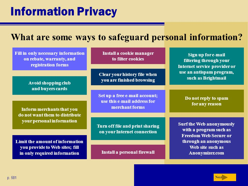 Information Privacy What are some ways to safeguard personal information