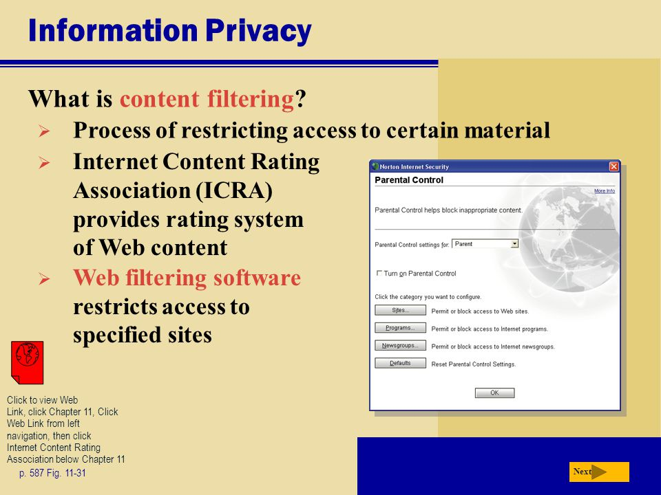 Information Privacy What is content filtering
