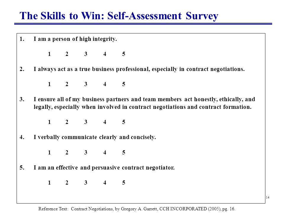 The Skills to Win: Self-Assessment Survey