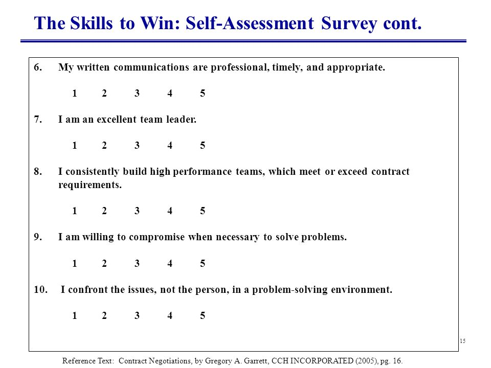 The Skills to Win: Self-Assessment Survey cont.