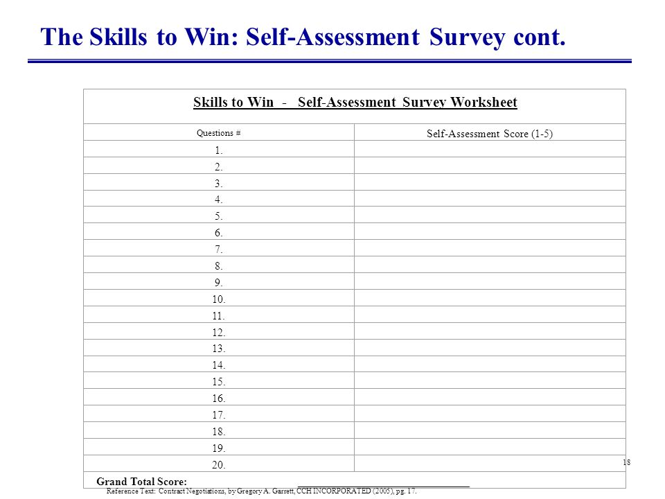 Skills to Win - Self-Assessment Survey Worksheet