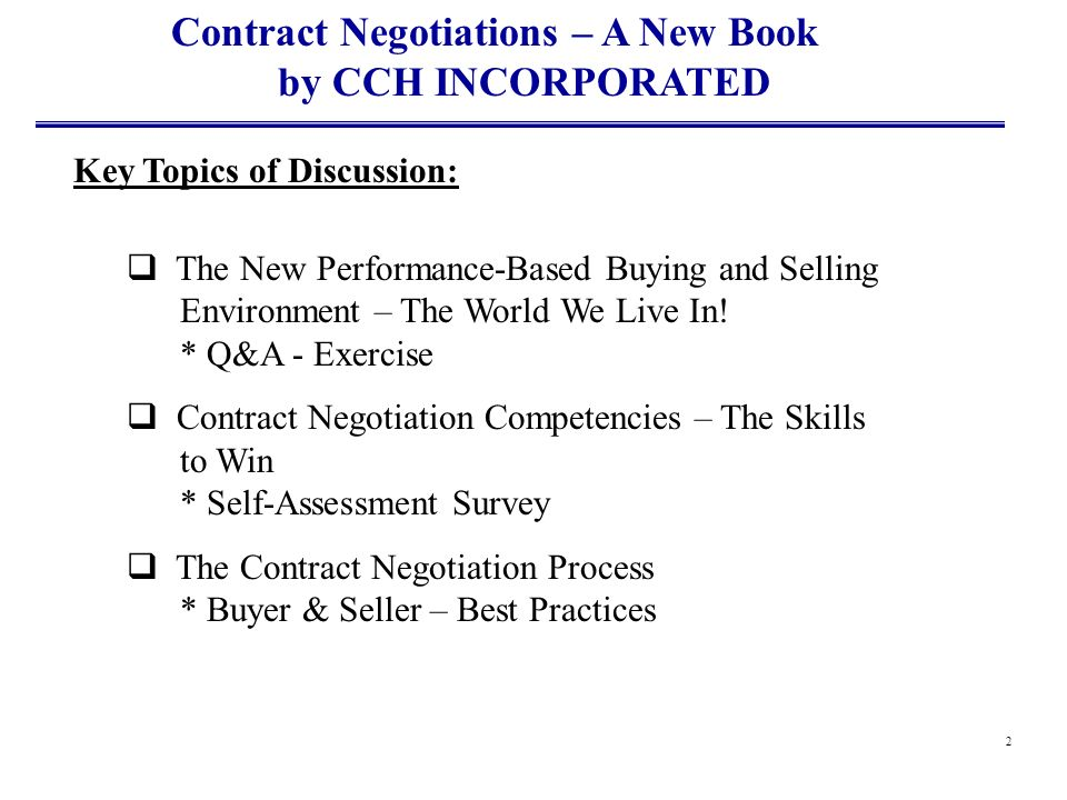 Contract Negotiations – A New Book by CCH INCORPORATED