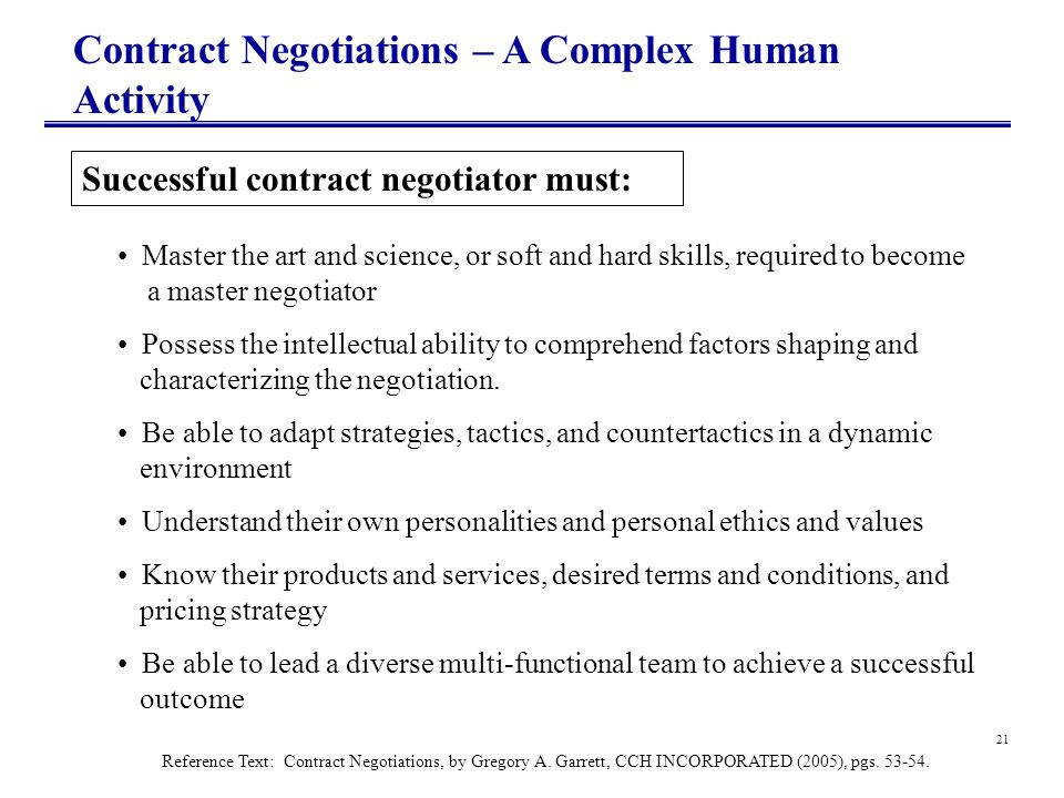 Contract Negotiations – A Complex Human Activity