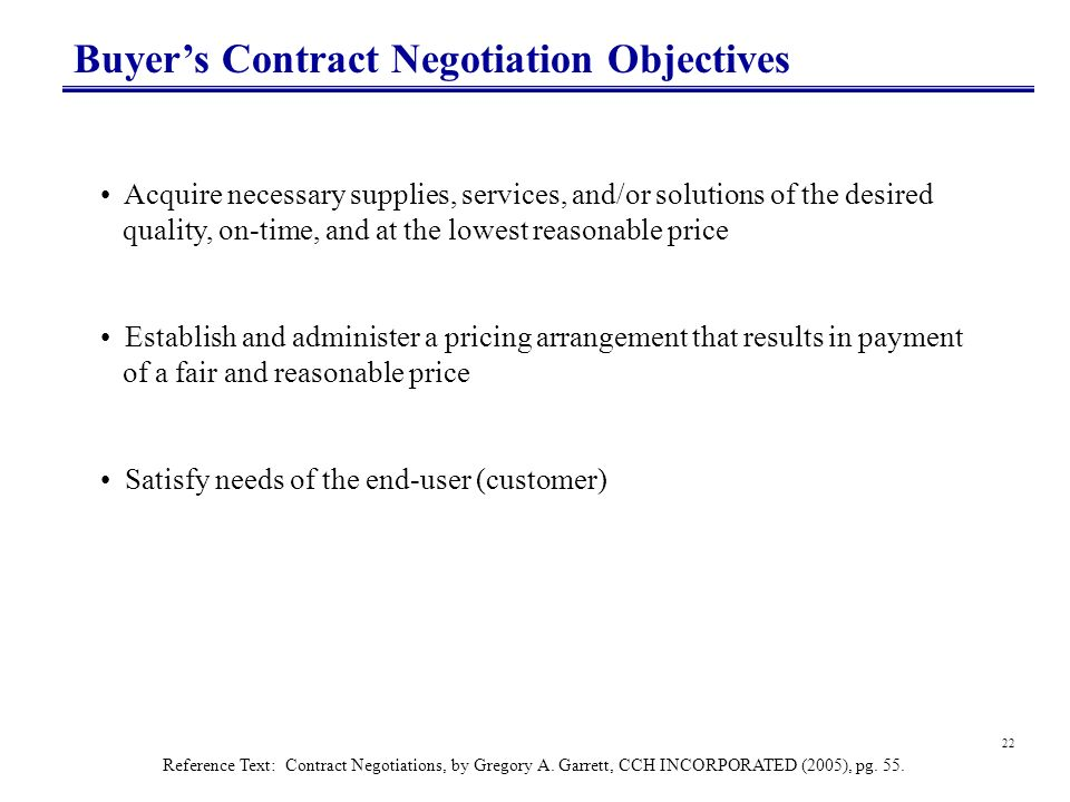 Buyer's Contract Negotiation Objectives