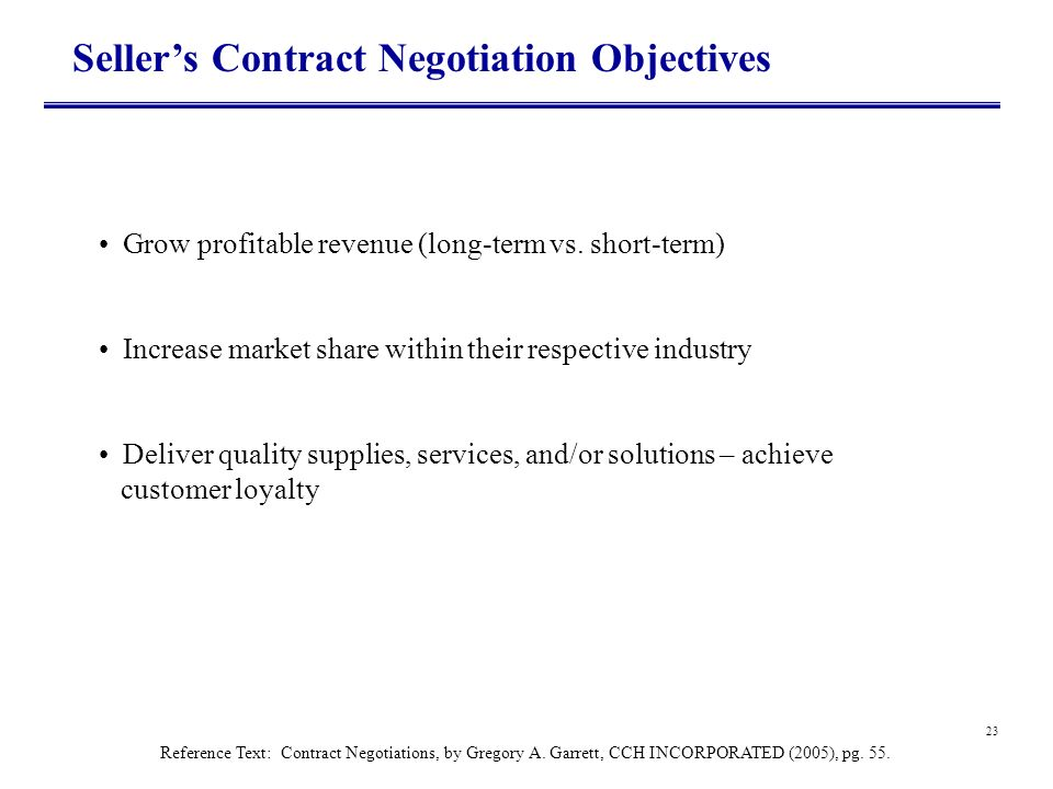 Seller's Contract Negotiation Objectives