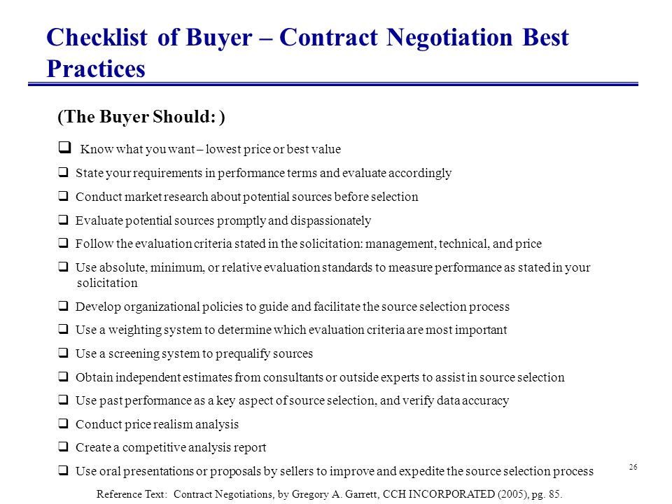 Checklist of Buyer – Contract Negotiation Best Practices