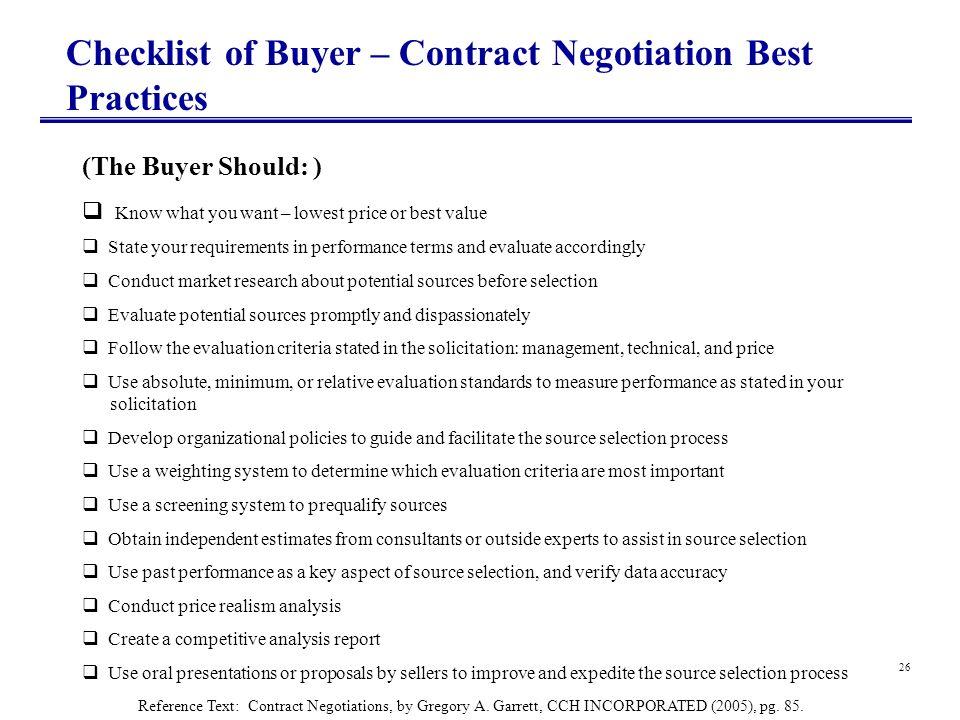 Checklist of Buyer – Contract Negotiation Best Practices