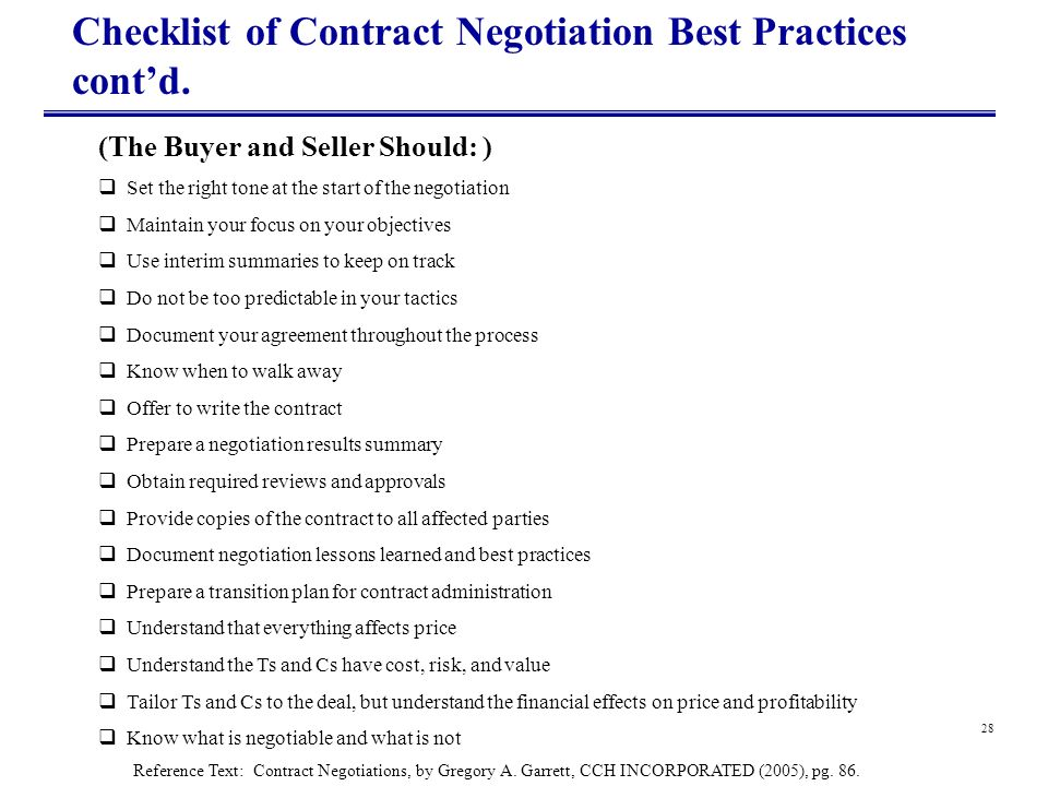 Checklist of Contract Negotiation Best Practices cont'd.