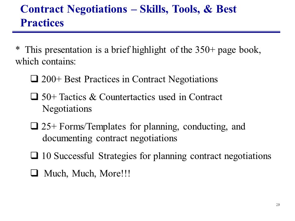 Contract Negotiations – Skills, Tools, & Best Practices