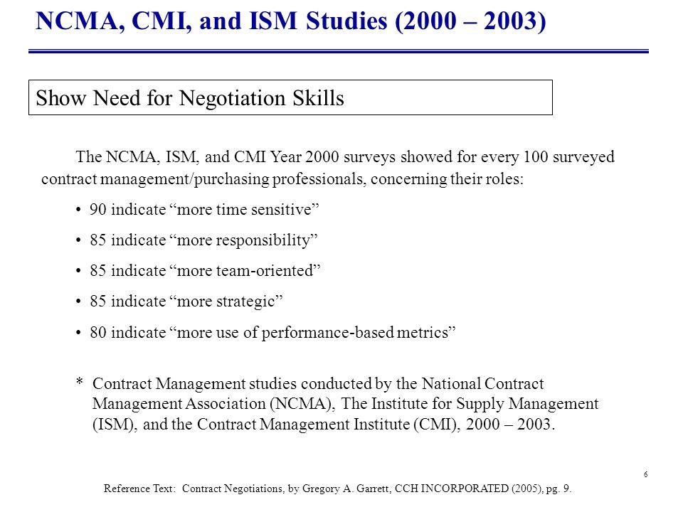 NCMA, CMI, and ISM Studies (2000 – 2003)