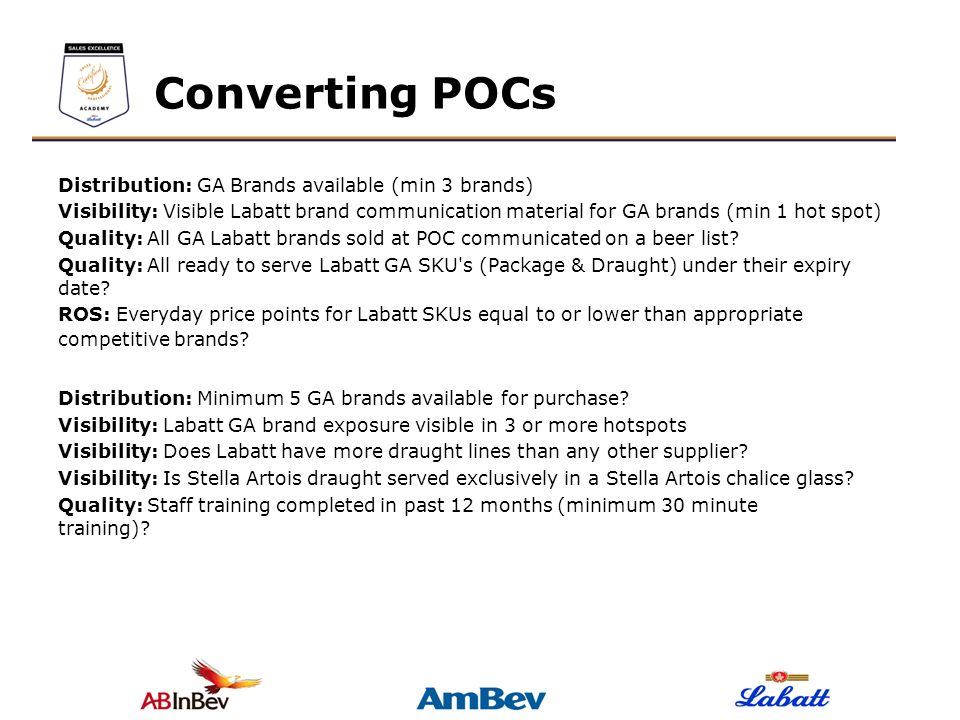 Converting POCs Distribution: GA Brands available (min 3 brands)