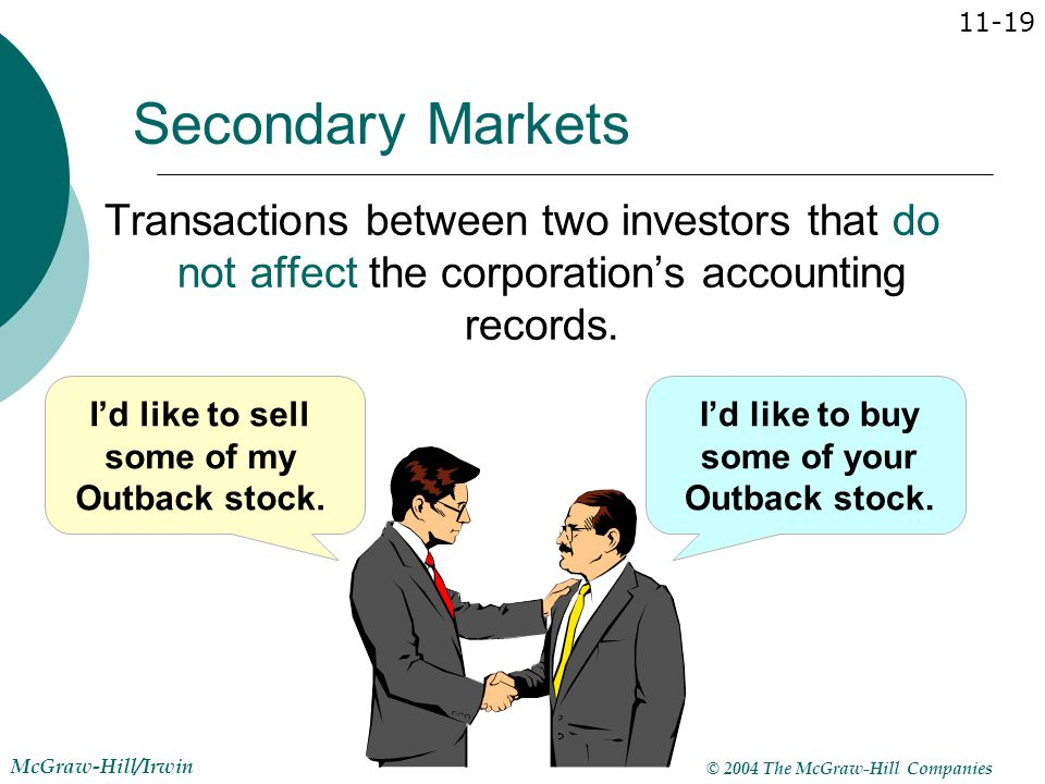 Secondary Markets Transactions between two investors that do not affect the corporation's accounting records.