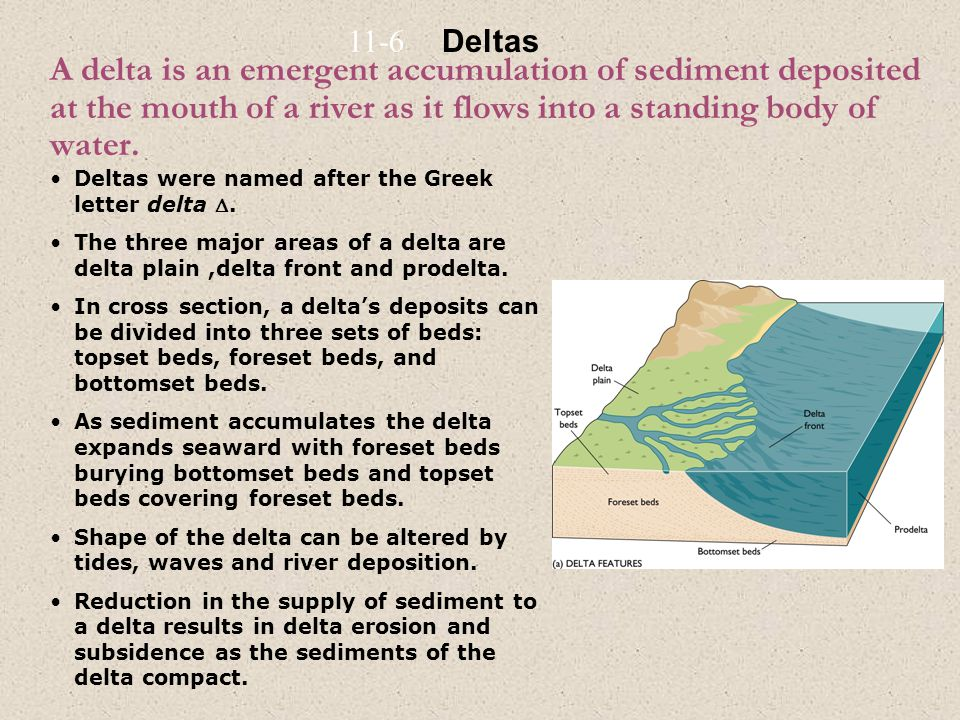 11-6 Deltas. A delta is an emergent accumulation of sediment deposited at the mouth of a river as it flows into a standing body of water.