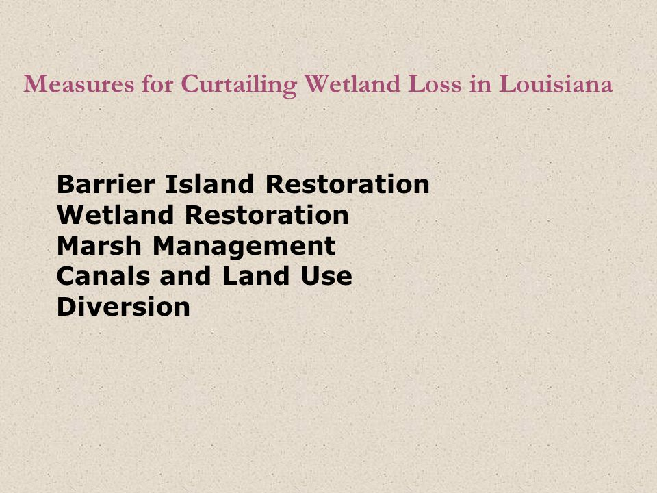 Measures for Curtailing Wetland Loss in Louisiana