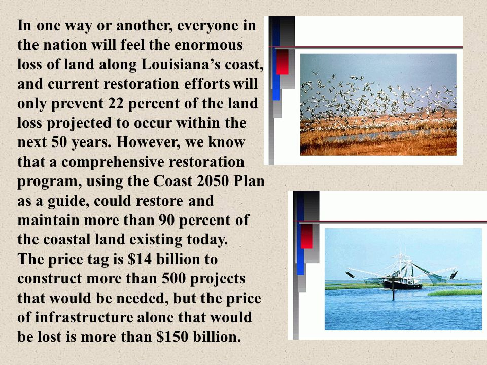 In one way or another, everyone in the nation will feel the enormous loss of land along Louisiana's coast, and current restoration efforts will only prevent 22 percent of the land loss projected to occur within the next 50 years. However, we know that a comprehensive restoration program, using the Coast 2050 Plan as a guide, could restore and maintain more than 90 percent of the coastal land existing today.