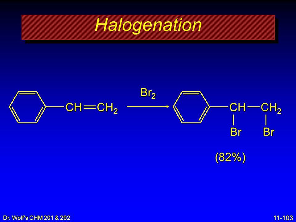 Halogenation Br2 CH2 CH CH CH2 Br Br (82%) Dr. Wolf s CHM 201 & 202 8