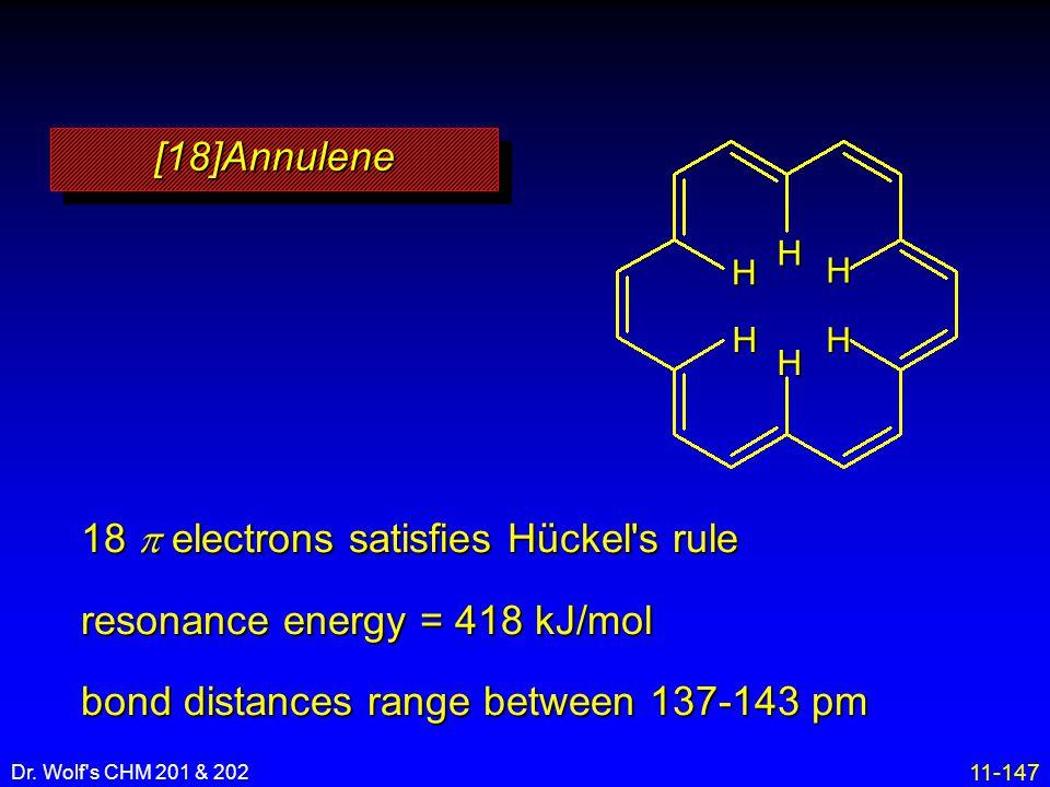 18 p electrons satisfies Hückel s rule resonance energy = 418 kJ/mol