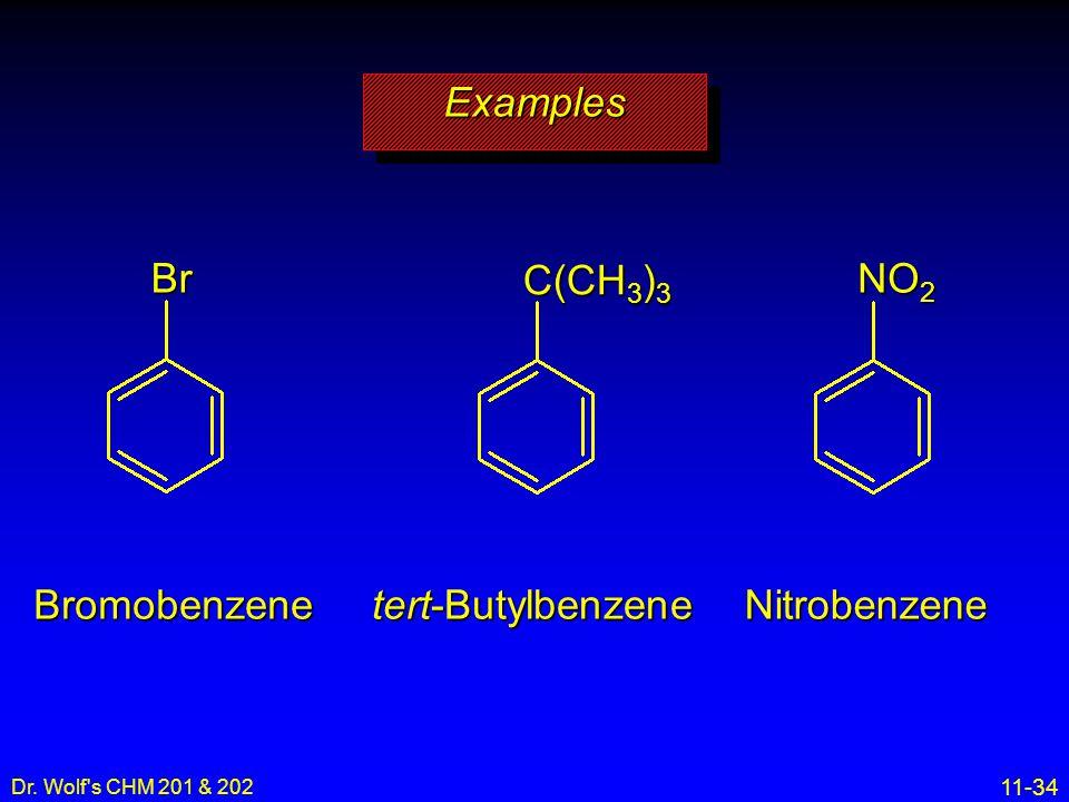 Examples Br C(CH3)3 NO2 Bromobenzene tert-Butylbenzene Nitrobenzene 3
