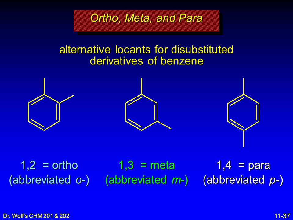 alternative locants for disubstituted derivatives of benzene